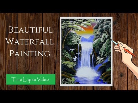 Waterfall Landscape Painting In Time-lapse | Easy Waterfall Acrylic Painting on Canvas For Beginners