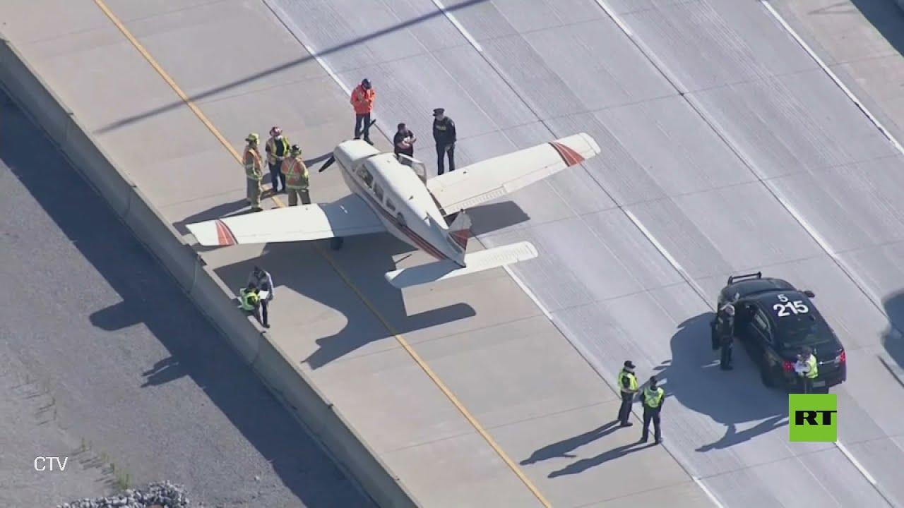 شاهد.. طائرة تهبط على أحد الطرق السريعة الرئيسية في كندا  - نشر قبل 60 دقيقة