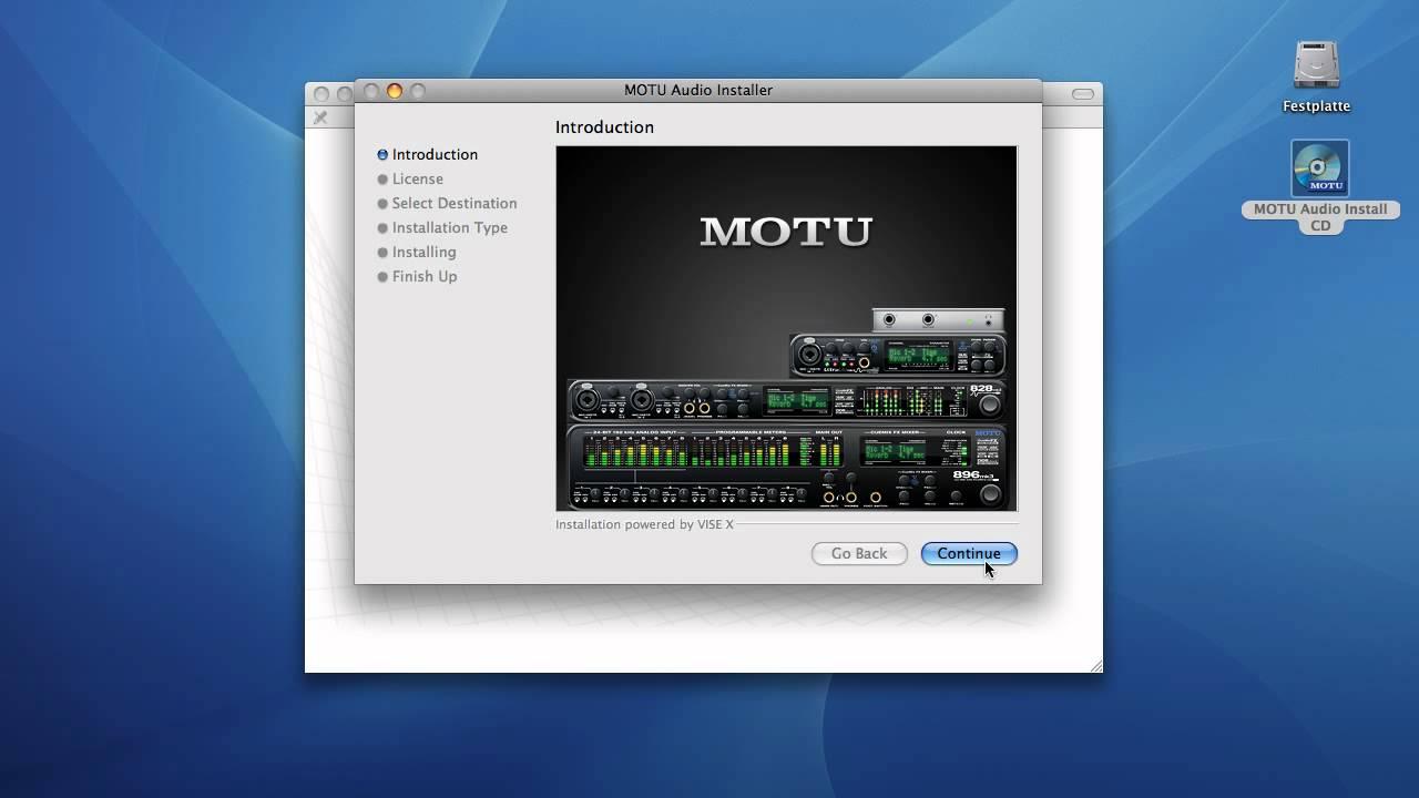 Installation eines MOTU-Audiointerfaces auf Macintosh-Computer ...