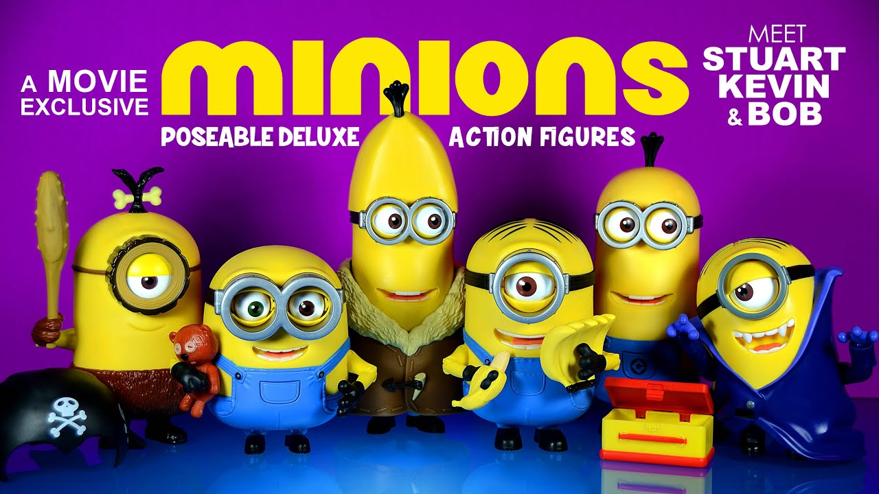Minions Movie Exclusive Poseable Deluxe Action Figures Build A Minion Kevin Stuart Bob
