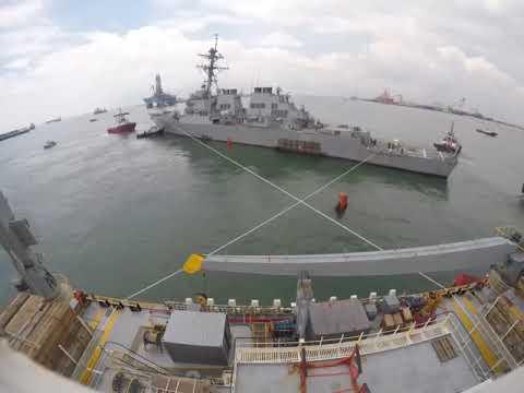 USS John S McCain is Loaded on Heavy Lift Transport MV Treasure