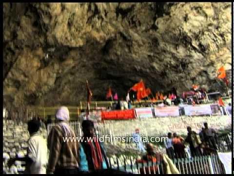 Sadhus visit Amarnath cave in Kashmir, India