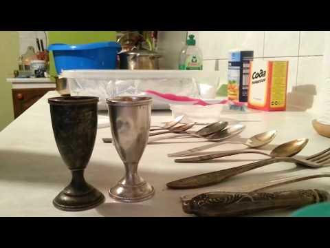 Как очистить старый мельхиор и серебро за о,5 часа без применения химии