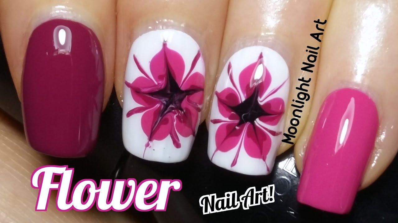 Drag Dry Marble Flower Nail Art Tutorial - YouTube