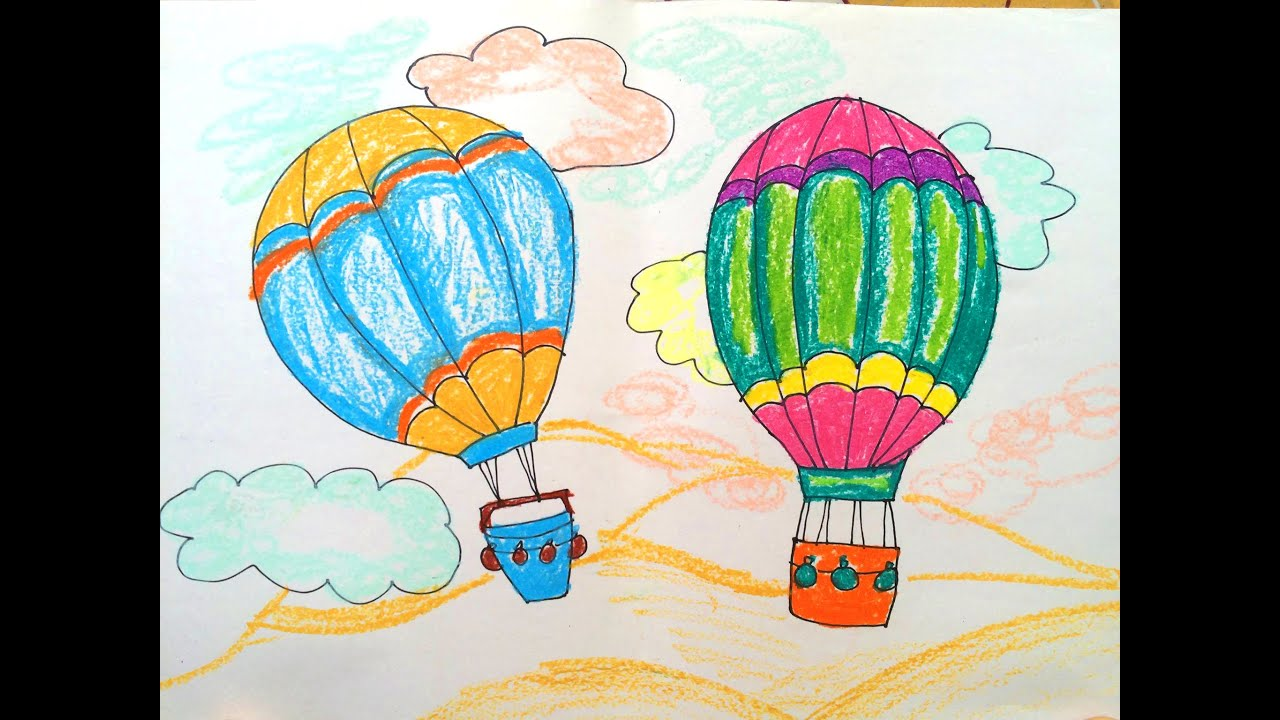 How to draw transport  How to paint a hot air balloon  Easy to