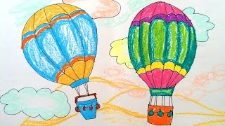 How to draw transport | How to paint a hot air balloon | Easy to draw hot air balloon | Art for kids