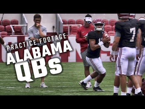 Watch Jalen Hurts, Tua Tagovailoa and the Alabama QBs practice Saturday