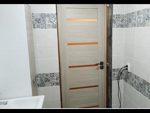Полная установка межкомнатной двери в ванной комнате своими руками.