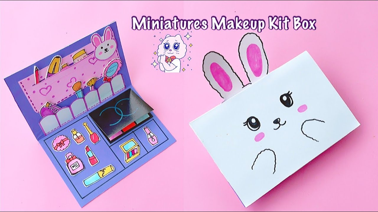 DIY Miniature Makeup Kit Box | Miniature Cosmetics Lipstick, Eyeshadow Palette, Makeup Kit & more!