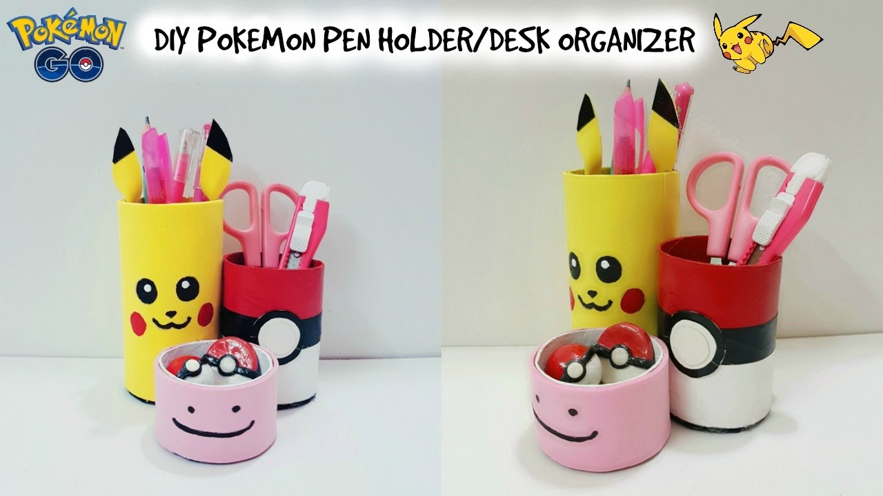Diy Desk Organizer Pokemon Go Pen Holder With Cardboard Recycle Craft You
