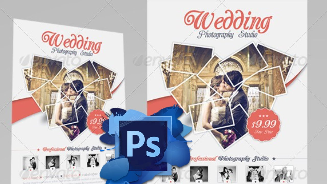 Wedding Flyer Template - Free for PhotoShop - YouTube