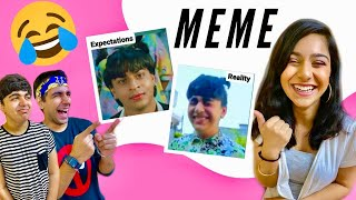 REACTING TO OUR MEMES WITH BROTHER & SISTER | Rimorav Vlogs