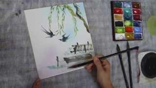 水墨画(sumi-e)の描き方動画で柳とツバメを描いてみました。 ホームペ...