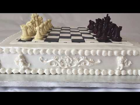 Classic Chess Board Cake with Edible Chocolate Pieces.