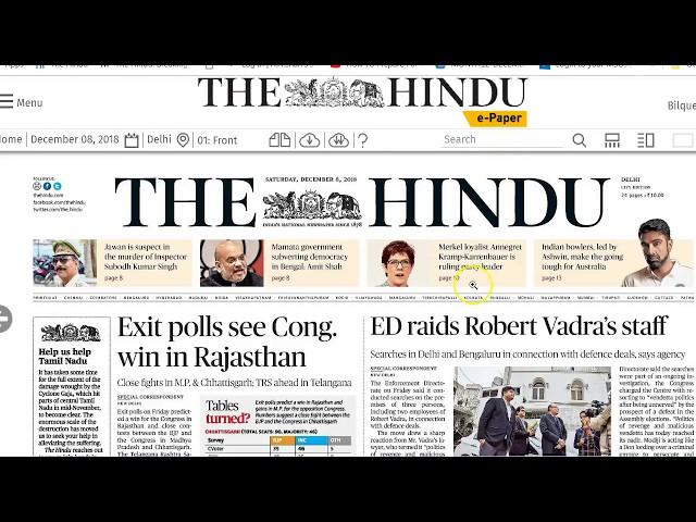 8 December 2018 - IMPORTANT HEADLINES The Hindu Current Affairs  - Mrs. Bilquees Khatri