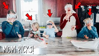 Blind Folded Food Tasting Challenge HILARIOUS! MOM PICKS!