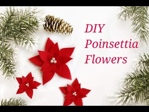 DIY Poinsettia Flower using Felt ||  DIY Christmas decorations || 12 DIYs of Christmas