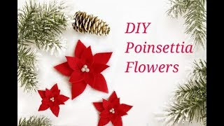 DIY Poinsettia Flower using Felt ||  DIY Christmas decorations || 12 DIYs of Christmas