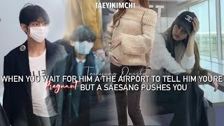 he sees u get pushed by a saesang while waiting for him to arrive at the airport Taehyung Oneshot