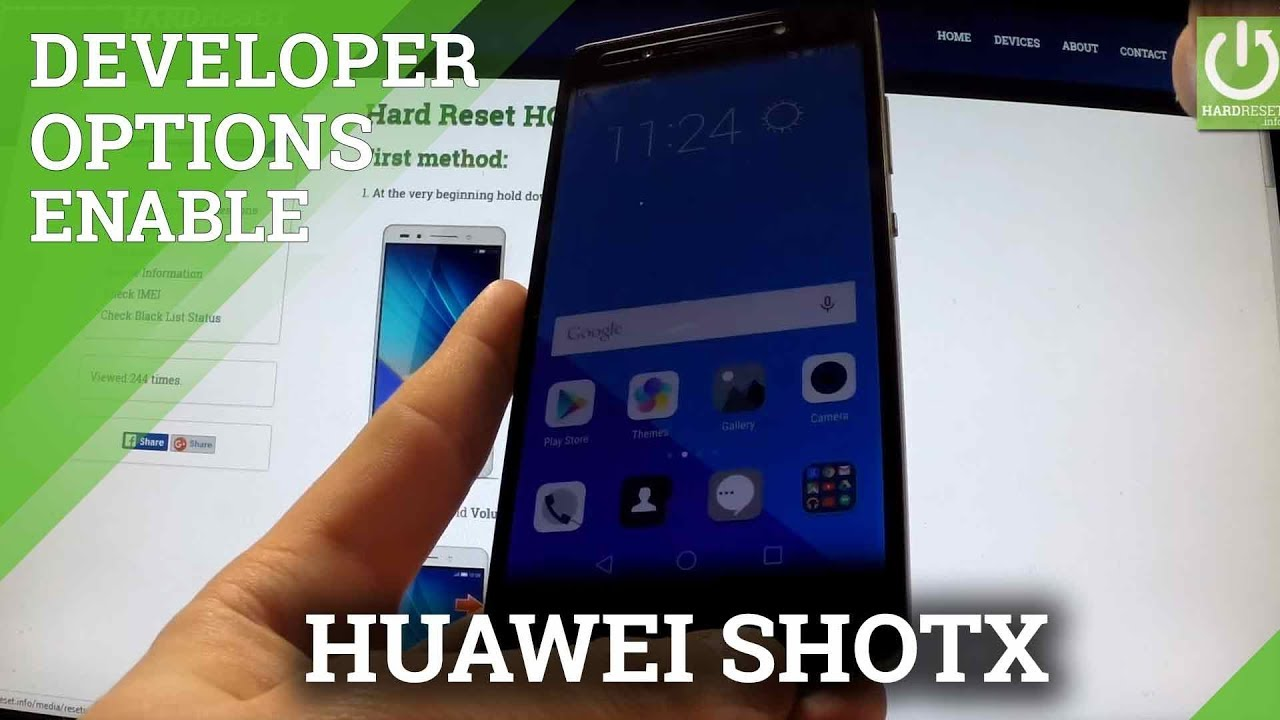 How to active Developer Options in HUAWEI ShotX - enable USB Debugging