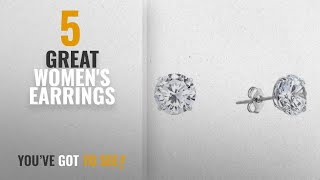 10 Best White Gold Earrings [2018]: 14k White Gold Solitaire Round Cubic Zirconia Stud Earrings with