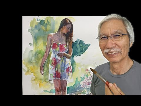 [ Eng sub ] Watercolor Tutorial | How to paint Standing Figure Woman 水彩画の基本〜女性の立ち姿を描くコツ 6分講座
