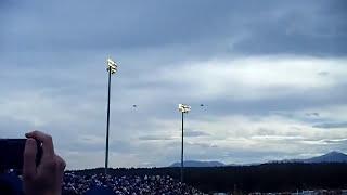 F-22 and B-2 flyover at USAFA football game