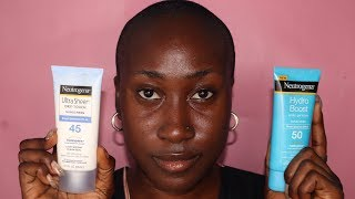 Neutrogena Hydro Boost Water Gel vs. Ultra Sheer Dry-Touch Sunscreen | No White Cast