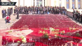 Paris tourist trap drowned in fake blood by enviro