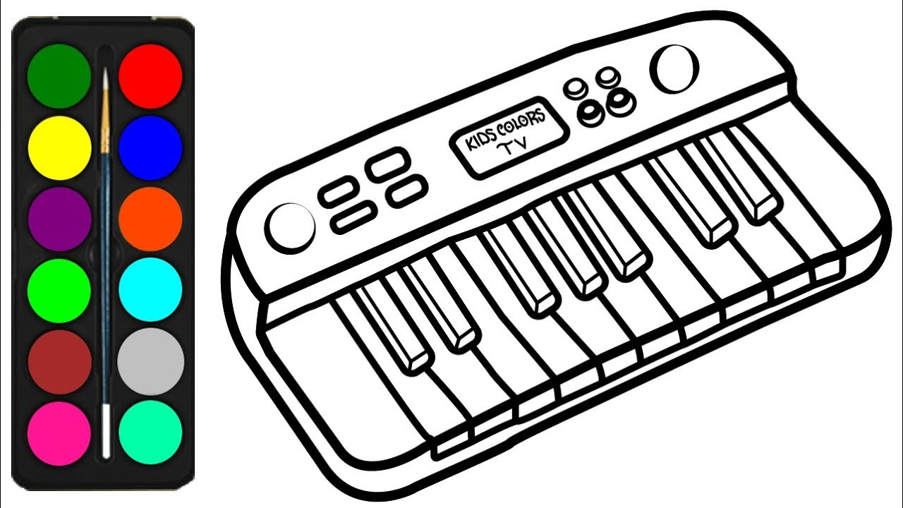 musical keyboard coloring pages - photo#1