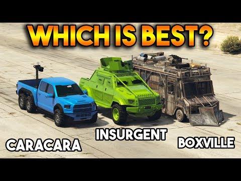 GTA 5 ONLINE : CARACARA VS INSURGENT PICK UP CUSTOM VS BOXVILLE (WHICH IS BEST?)