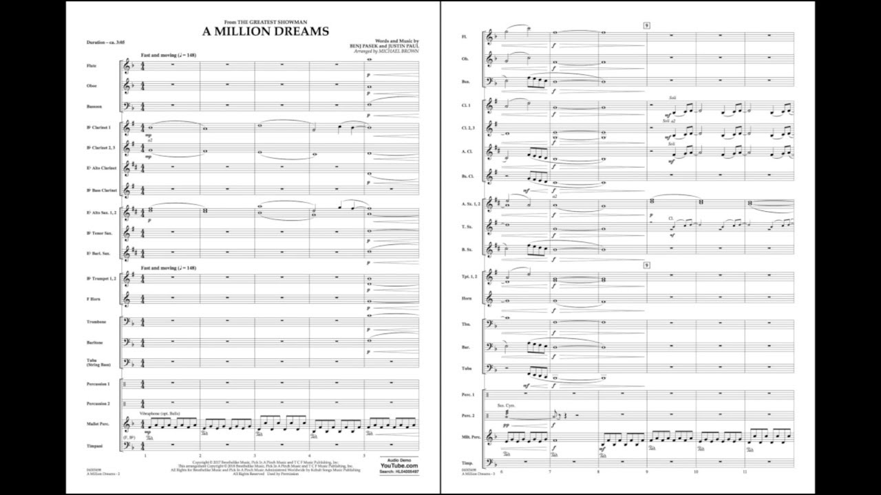 A Million Dreams (from The Greatest Showman) arr  Michael Brown