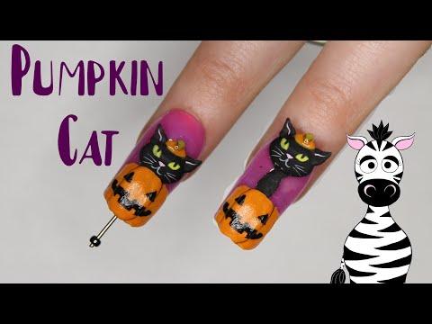 4D Pumpkin Cat Acrylic Nail Art Tutorial | Halloween Cat 2019 | MelodyMinutes thumbnail