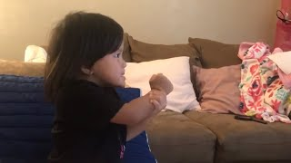 Cute toddler reenact to Q Park's video of BTS (Blood, Sweat & Tears)