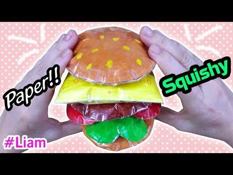 Cách làm Squishy Giấy 3D BÁNH HAMBURGER rất dễ   DIY Paper Squishy 3D HAMBURGER   Liam Channel