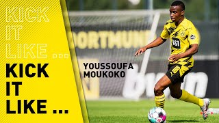 Youssoufa moukoko is not allowed to play with the professionals until his 16th birthday, but he train them diligently. and shows us ano...