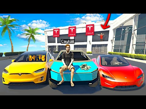 Stealing EVERY TESLA From DEALERSHIP In GTA 5 Roleplay..