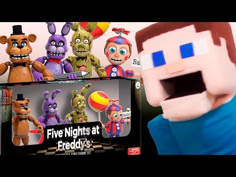 Toy Unboxing: Five Nights at Freddy&39;s FUNKO Vinyl Figures With Minecraft Puppet Steve