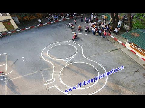 Thực hành thi bằng lái xe máy A1 - Đi vòng số 8