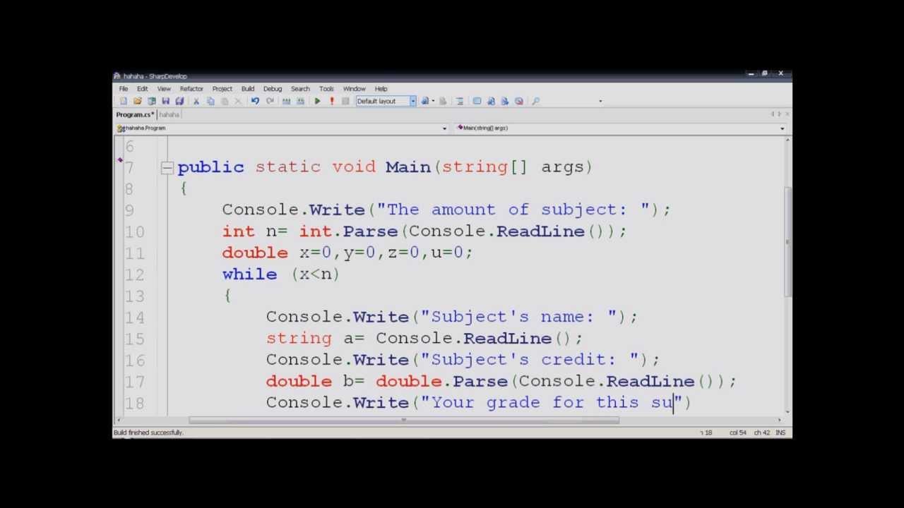 Grade Calculating Program By C#