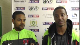 Kevin Lisbie and Bradley Pritchard post Yeovil win
