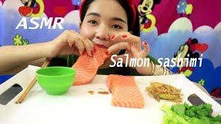 ASMR Salmon Sashimi (EXTREME SAVAGE EATING) Whole Big Slice