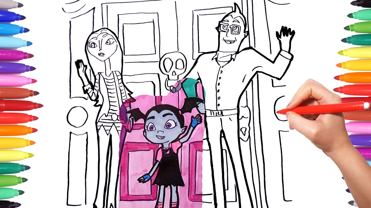 Coloring Vampirina Vee Coloring Pages Drawing And Painting Disney Vampirina With Colored Markers Youtube