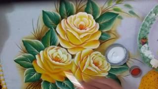 Como pintar rosas amarelas 2 Com Lia ribeiro