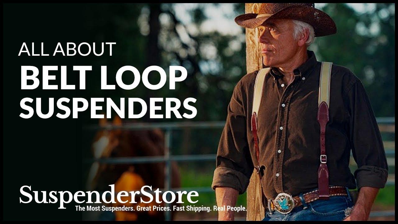 SuspenderStore Mens Plain w//Crease Handcrafted Western Leather Belt Loop Suspenders