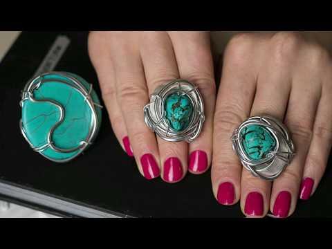 Модные крупные кольца с натуральных камней