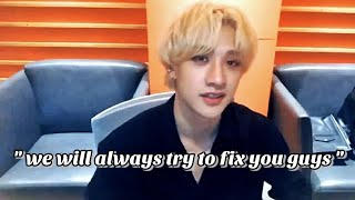 Bang Chan's comforting speeches and helpful advices