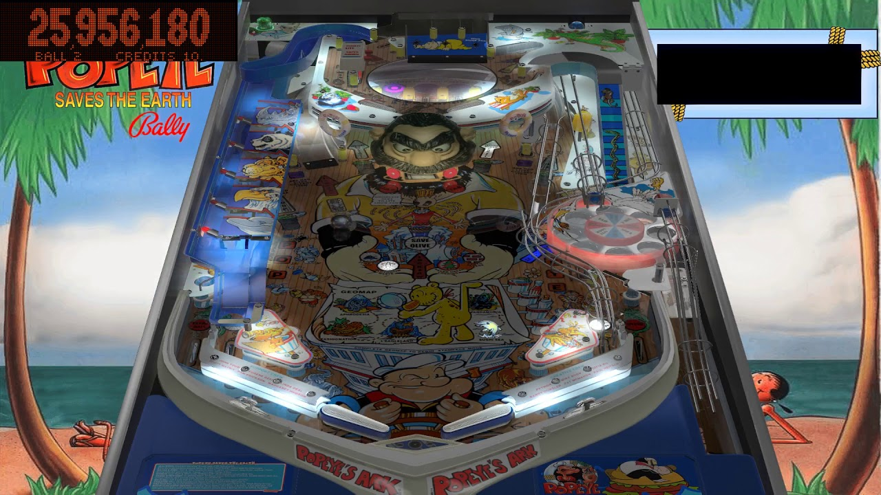 Popeye saves the Earth Pinball VPX - YouTube