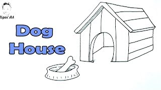 how to draw a dog house easy
