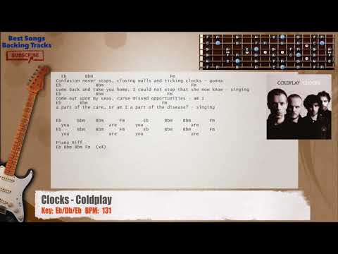 Clocks - Coldplay Guitar Backing Track with chords and lyrics - YouTube